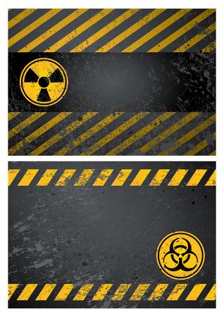 radioattivo: nucleare e lo sfondo di avviso di pericolo rischio biologico Vettoriali