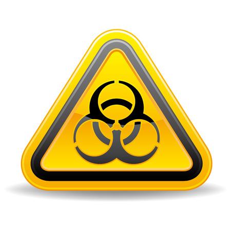 yellow triangular biohazard warning sign Vector
