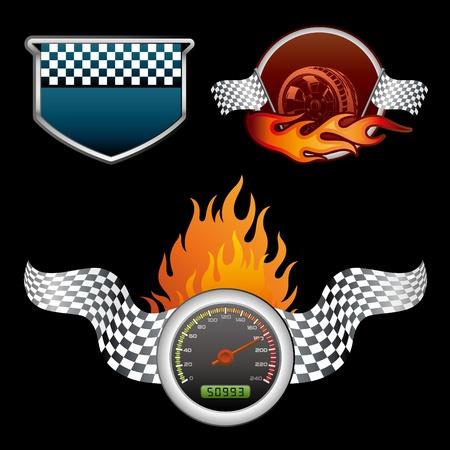 élément de design pour la course automobile Vecteurs