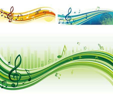 music banner: muziek thema banners Stock Illustratie