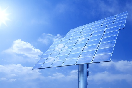 electric cell: shining sun and solar panels