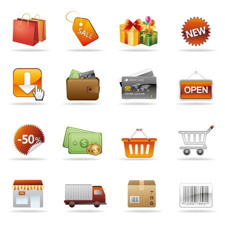 web store: shopping e consumismo icon set