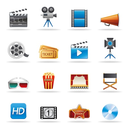 movie entertainment icons set Vector