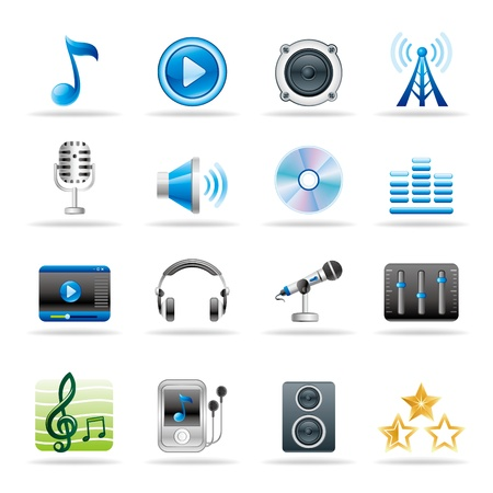 music loudspeaker: music and audio vector icon set