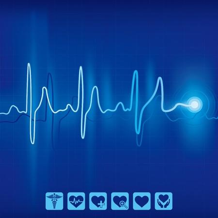 elektrokardiogramm: Heartbeat ekg Pulse Ablaufverfolgung auf blauem Hintergrund, Medizin- und Gesundheitsforschung Symbol Illustration