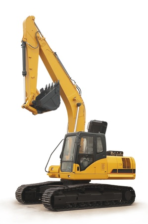 shiny and modern yellow excavator machines isolated on white