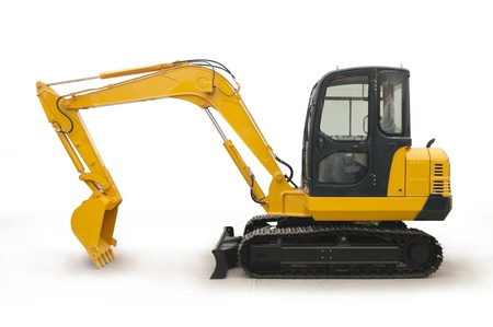 excavator: shiny and modern yellow excavator machines isolated on white