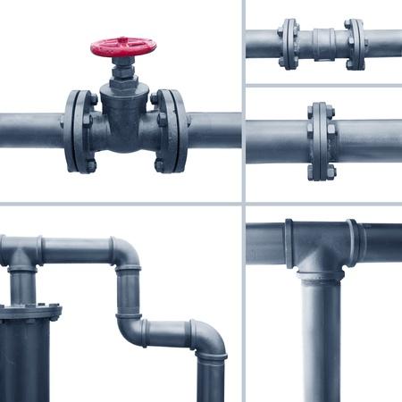 various metal pipe elements Banque d'images