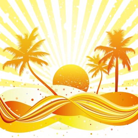 여름 해변에서 야자수와 소용돌이 치는 파도 디자인