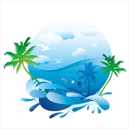 seascape: tropical beach with palm trees Illustration