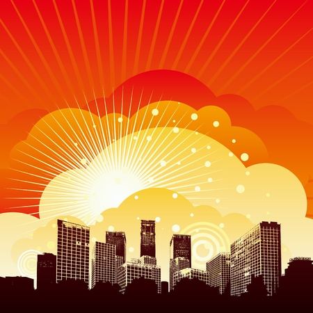 silhouetted city with sunset background
