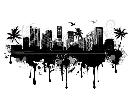 office window view: vector illustration of an seastrand urban cityscape Illustration