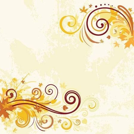 autumn leaf frame: Fondo de dise�o oto�o remolino decorativo Vectores