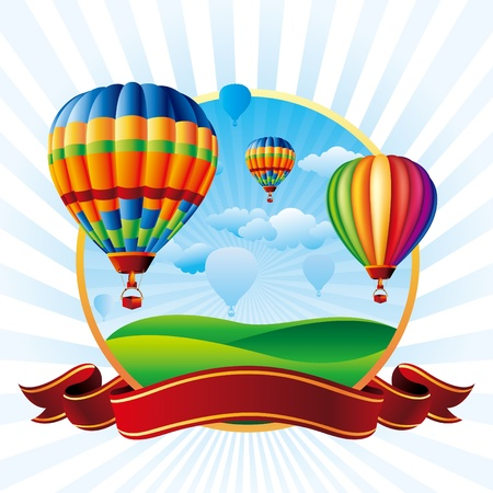 illustration of hot air balloons take flight Çizim
