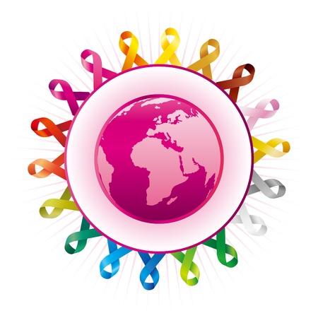cancer de mama: Federación Mundial de protección Vectores