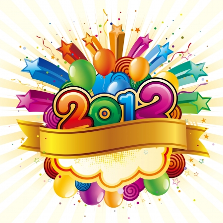 vector illustration of happy new year 2012 Vector