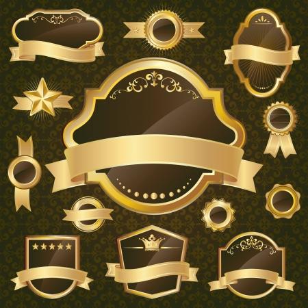 Gold label set on black background