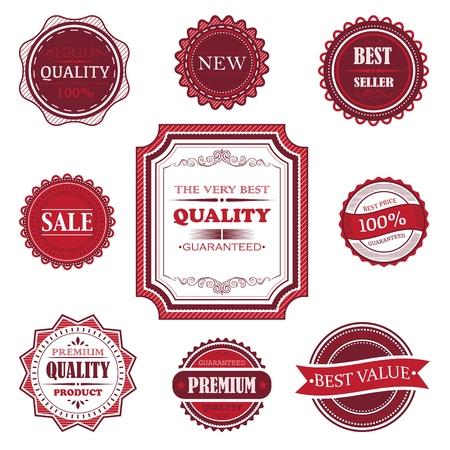 traditional goods: Label set on white background Illustration