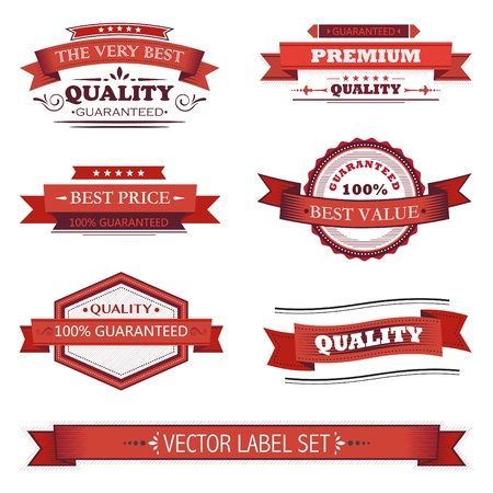 badge with ribbon: Vintage labels set Illustration