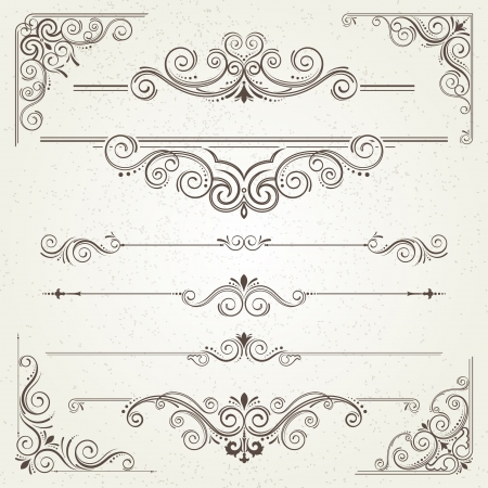retro type: Vintage frames and scroll elements