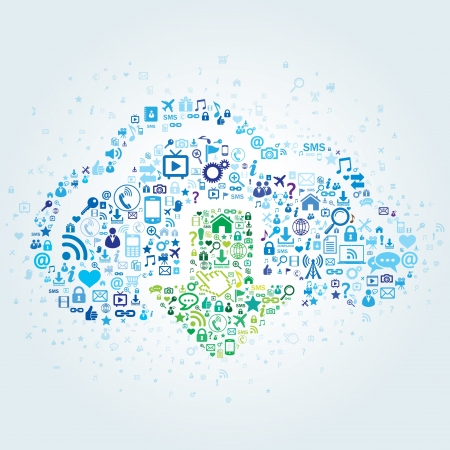 sharing information: Technology concept of cloud computing