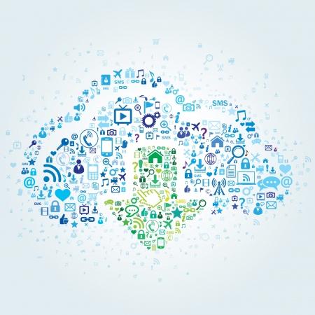 datos personales: Tecnolog�a concepto de cloud computing