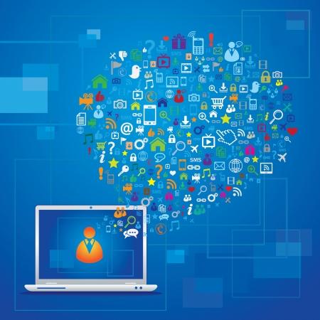 the internet: Concetto di comunicazione globale Vettoriali