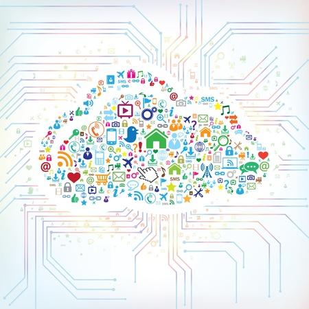 compartiendo: Concepto abstracto de la computaci�n en nube Vectores