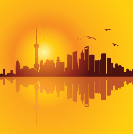 Shanghai Skyline Stock Vector - 18268462
