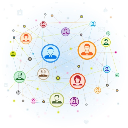 medium group of people: Social media concept,vector illustration