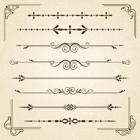 vendimia: Cuadros de época y elementos de desplazamiento Vectores