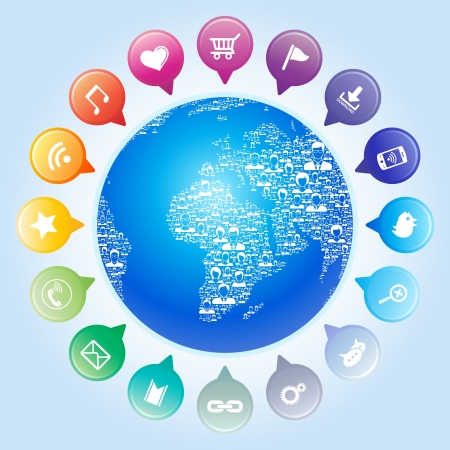web icons communication: Global communication,Socia l network concept