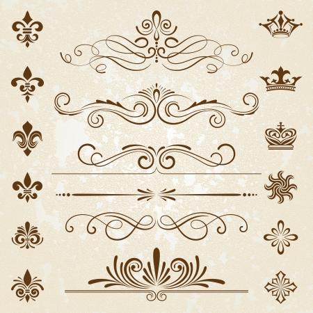corona rey: Elementos de diseño de decoración de la vendimia con una decoración página Vectores