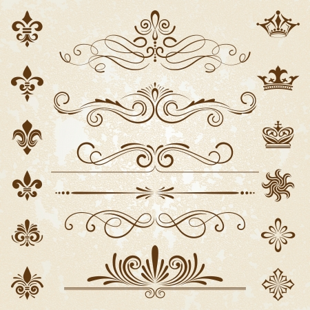 retro type: Vintage decoration design elements with page decor