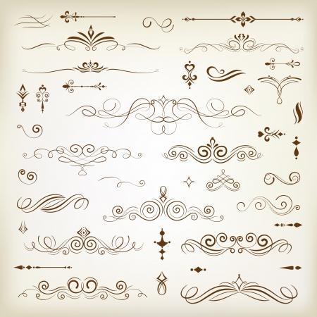 tipos: Elementos de diseño de decoración de la vendimia con una decoración página Vectores