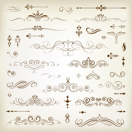 scroll shape: Vintage decoration design elements with page decor