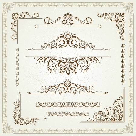 scroll border: Vintage frames and scroll elements Illustration