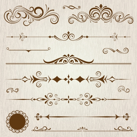 swirl border: Vintage frames and scroll elements Illustration