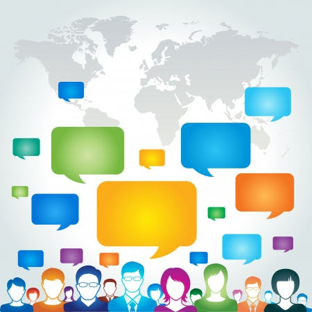 contacts group: Global communication network concept