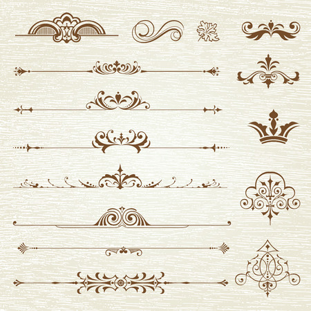 Vintage frames and scroll elements Çizim
