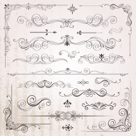Vintage frames and scroll elements Stock Illustratie