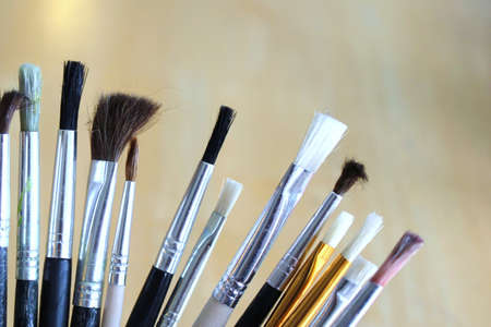 Horizontal abstract view various artist paint brushes Stock Photo - 9844143