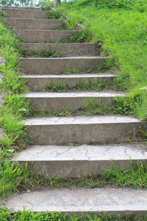 Large stone steps leading up with grass edges vertical close up photo