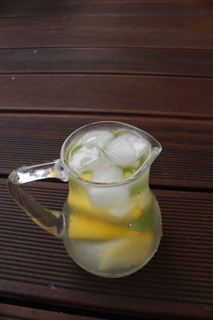 refreshing: refreshing lemonade ice frosted glass in your jar Stock Photo