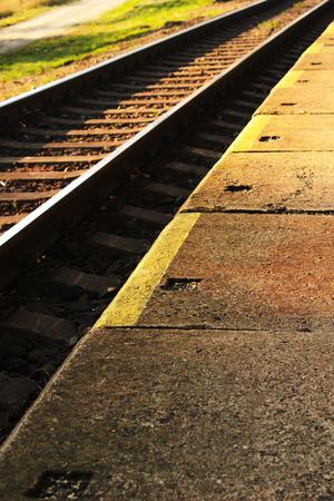 wood railroads: Details of railroad tracks Stock Photo