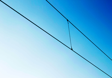 wiring: Electrical wiring on blue sky Stock Photo