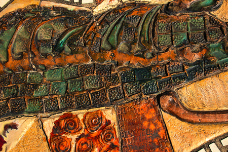 depicting: ceramic mosaic depicting nature