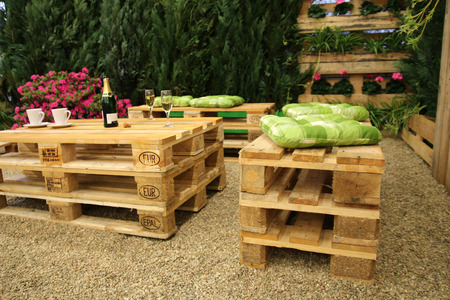 decorative balconies: Furniture made from pallets Stock Photo
