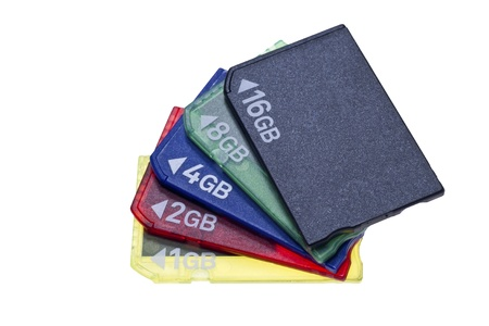 Bundle of memory cards, different capacity