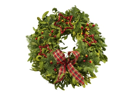 Christmas wreath made from real fir and mistletoe boughs Stock Photo